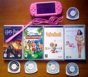 Pink PSP + 3 games,  film + game case .